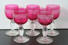 antique crystal cranberry Port glasses, 1880 England