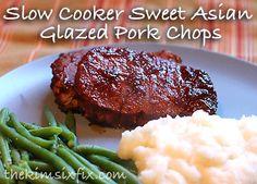 Slow Cooker Sweet Asian Glazed Pork (Chops or Sandwiches) via www.TheKimSixFix.com #TheKimSixFix