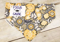 Dog Bandana, Mustard Yellow and Grey, Slide Over the Collar Dog Bandana, Contemporary Pet Bandana, by Focus for a Cause by FocusforaCause on Etsy