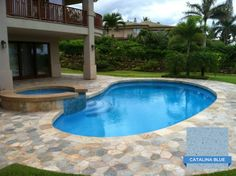 Great aesthetic with Hydrazzo Catalina Blue. The blue sky and blue pool finish makes for some extra blue water. Huber Pools