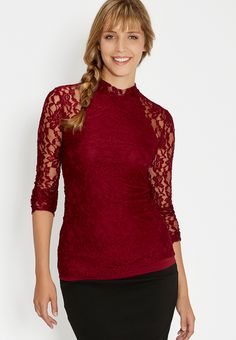 lace top with mock neck and peek-a-boo back