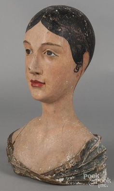 Carved and painted wig stand, late 19th c.