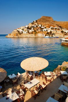 Cafe overlooking the port of Hydra island, Greece