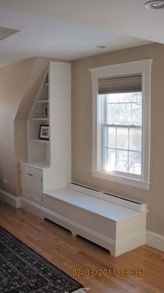 built in cabinets baseboard heat Built-in storage in a new bathroom Small details enhance this book . Baseboard Heater Covers, Baseboard Heating, Baseboard Radiator, Built In Bench, Built In Storage, Diy Heater, Faux Fireplace, Built In Cabinets, Baseboards
