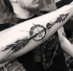 Stone Arrow Tattoo on Forearm - forearm tattoo arrow - Tattoos 3d, Feather Tattoos, Trendy Tattoos, Body Art Tattoos, Sleeve Tattoos, Tattoos For Guys, Tattos, Arrow Forearm Tattoo, Arrow Tattoos