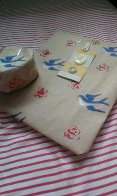 Handmade printed wrappingpaper