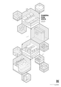 Elaborato di laurea triennale presso la facoltà di Architettura Civile, corso di… Concept Models Architecture, Architecture Presentation Board, Architecture Graphics, Pavilion Architecture, Isometric Map, Isometric Design, Map Diagram, Architectural Section, Information Design