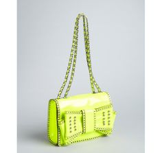 Rebecca Minkoff chartreuse patent leather studded bow 'Sweetie' shoulder bag