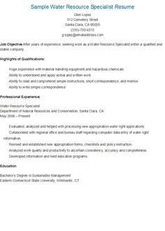 Visual Information Specialist Sample Resume Water Resource