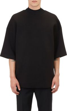 """Juun J Embroidered Neoprene Oversize T-shirt  Juun J black cotton-blend neoprene oversize T-shirt embroidered at back with """"LER-DILL.""""  Rib-knit mock turtleneck, drop shoulders Lined Available in Black Rayon/nylon/cotton; lining: polyester Hand wash Made in Korea"""