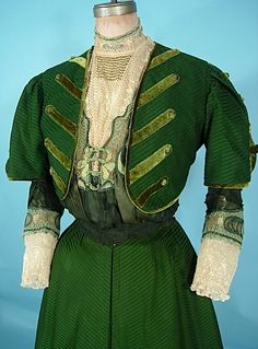 C.1906/1907 three-piece afternoon dress with original blouse.  Silk/wool, New York.