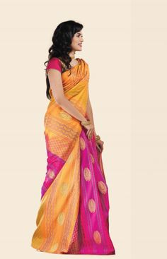 YELLOW AND PINK PURE SILK SAREE IN STRIPES