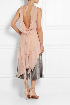 Blush crepe and silk-chiffon Slips on 85% rayon, 15% polyamide; trims: 100% silk Dry clean