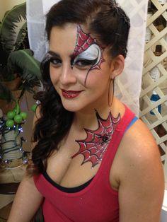 Feminine spider man face painting design Superhero Face Painting, Adult Face Painting, Face Painting Tips, Face Painting Designs, Painting For Kids, Paint Designs, Face Paintings, Spider Man Face Paint, Cheek Art