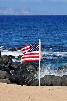 U.S. Flag at 2012 Maui Makani Classic at Ho`okipa Beach Park.