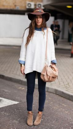 oversize sweater white + denim shirt | winter trend