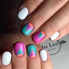 Vibrant Geometric Nail Art Design. Add these vibrant colors in your boring life and be yourself!