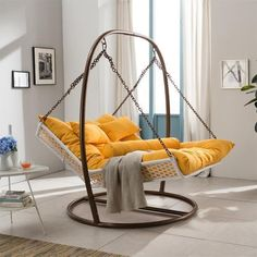 This indoor hammock swing chair style is for 2. Couple can spend moments together like watching TV, reading, eating or napping. Rattan is strong and basket base is durable to support the weight of 2 average person. Portability lets you to use the large double hammock chair indoor and outdoor. The price is around US $994.00. Facebook Twitter Google+ Pinterest StumbleUpon Email #HammockChair