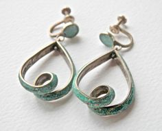 Mexican Silver Earrings Turquoise Vintage Crushed Hoop Backs 1940s 1930s Jewelry