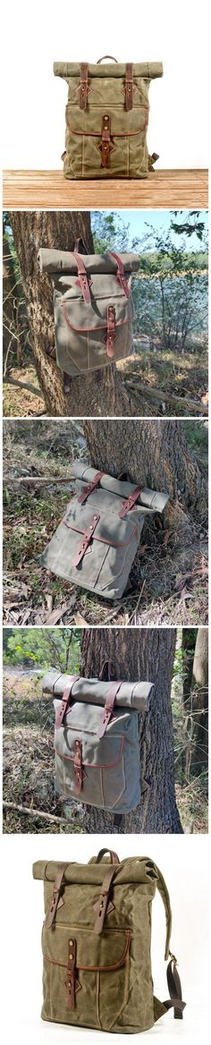 Oil Waxed Canvas And Full Grain Leather Hiking Backpack Large Travel Backpack Gift for Him Mens Laptop Rucksack MC5012 Hiking Backpack, Travel Backpack, Canvas Backpacks, Waxed Canvas, Christmas Shopping, Natural Leather, Army Green, Gifts For Him, Laptop