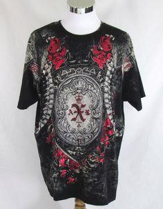 Black Brand Punk Goth Graphic Tee Studded Rhinestone Shirt Sz 2XL 100% Cotton #Black #Tee