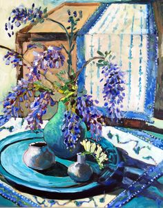 Wisteria and Hydrangeas Palette Knife, Texture Painting, Wisteria, Hydrangeas, Acrylics, Still Life, Lilac, Ali, Tables