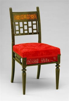 Side Chair / c. 1880, American / ebonized cherry and inlaid fruit wood