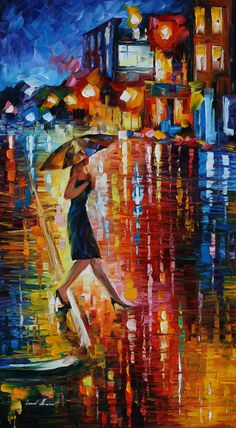 Afremov's best subject is women (3 of 5 Pics) _ Women under umbrellas, facing away, stepping through rain, in simple, elegant dresses and shirts. Despite the lack of detail I can fit each one with a beautiful personality and they feel so real even compared to many people painted in scrutinizing detail _ Source: https://cloisterpump.wordpress.com/2014/01/15/leonid-afremov/