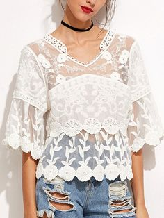 White V Neck Half Sleeve Crochet Lace Embroidery Mesh Top | victoriaswing