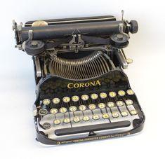 1918 Corona No. 3 Black Folding Antique Portable Typewriter with Case