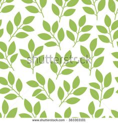 Seamless pattern with green leaves, tea, branches, foliage, petals on white. Floral background for wrapping paper, fabric, textile, card, invitation, wallpaper, web design. Vector illustration.