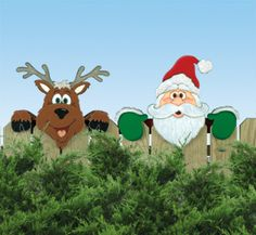 Set of 2, Santa's Team Fence Toppers