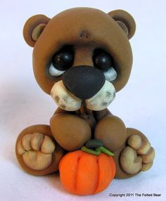 OOAK Polymer Clay Miniature Fall Bear with Pumpkin. $12.00, via Etsy.