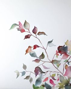 autumn leaves no. 5 . original watercolor painting