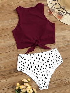 Togethor Sexy Bikini Set Bathing Suits Two Pieces Swimwear Women's Knot Front Crop Top Swimsuit with Floral Printing Bathing Suits For Teens, Summer Bathing Suits, Cute Bathing Suits, Vintage Swimsuits, 2 Piece Swimsuits, Women Swimsuits, Bikini Red, Brown Bikini, Bikini Swimsuit