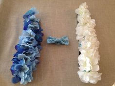 Fancy wedding collars and bow tie. (For dogs). (Fabric, felt, Velcro, plastic flowers, thread).