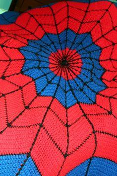 Spiderman Afghan - Link to Free Crochet Pattern - Harris Sisters GirlTalk