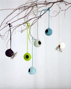 nl , bird nests of felt - by Ronel Jordaan'- felt weaver's nests - handmade - fair trade - empowerment Wet Felting, Needle Felting, Birdhouse In Your Soul, South African Design, The Wooly, Textile Fiber Art, Fibre Art, Window Hanging, Textiles