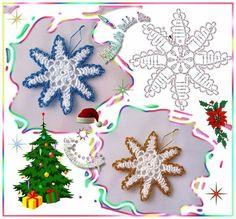 shared a photo from Flipboard Crochet Snowflake Pattern, Crochet Stars, Crochet Snowflakes, Crochet Flower Patterns, Applique Patterns, Crochet Flowers, Crochet Appliques, Rubrics, Crochet Earrings