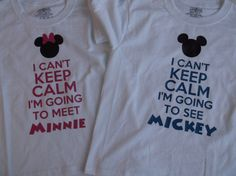 I can't keep calm I'm going to meet/see Mickey Minnie t-shirt Custom made Disney heat transfer vinyl on Etsy, $16.00