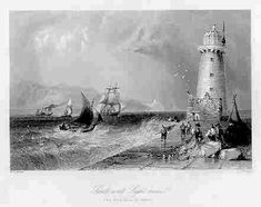 Howth harbour lighthouse and Ireland's Eye, (no date)