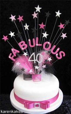 FABULOUS 40 BIRTHDAY CAKE TOPPER 'BIG AND BEAUTIFUL' PINK, BLACK AND WHITE #karenkakes