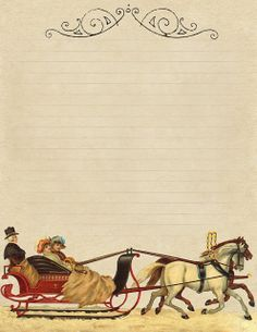 """The Sleigh Bells"" ~ 8.5 x 11"" printable lined stationery, featuring a Victorian sleigh ride."