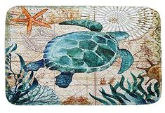 An entrancing and unique print with colorful map styling, the Monterey Bay Sea Turtle Canvas Wall Art from Portfolio Arts Group adds a gentle artistic touch to any space. Features beautiful multi-patterned print of sea creatures and sailing ships. Decoupage, Canvas Frame, Canvas Wall Art, Square Canvas, Ocean Themes, Illustrations, Beach Art, Sea Creatures, Find Art