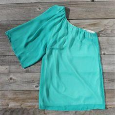One shoulder teal blouse