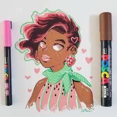 Mais uma ilustração super amor com nossa cor do mês! Olha essa moranguinho com tons de rosa e marrom, que a Instagram: @gdbee mandou 😍 Poder das mulheres, outubro das mulheres, conscientize-se! #POSCA #OutubroRosa Posca Marker, Marker Art, Character Art, Character Design, Posca Art, Arte Sketchbook, Cute Art Styles, Pen Art, Pretty Art