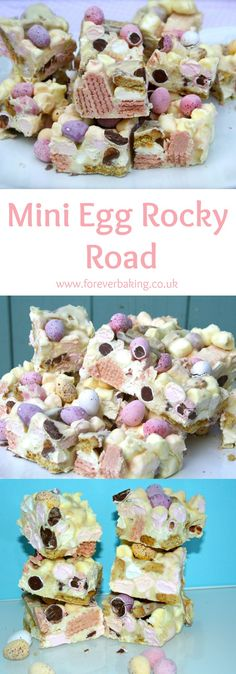 Colourful and decadent white chocolate rocky road bars filled with fruity marshmallows, crunchy digestive and wafer pink biscuits and mini chocolate eggs.
