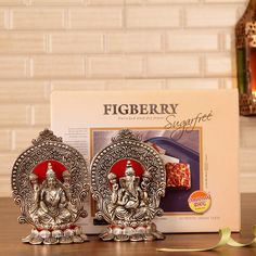 Divine White Metal Laxmi Ganesha with Sugarfree Figberry Wedding Stage Decorations, Diwali Decorations, Same Day Delivery Gifts, Diwali Gift Hampers, Diwali Pooja, Sweets Online, Silver Pooja Items, Ganesh Idol, Gold Wall Decor