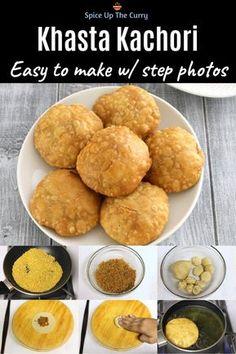 Khasta kachori - Small, crispy, flakey puri stuffed with spicy moong dal mixture. This moong dal kac
