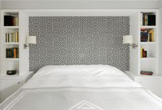 greek key wallpaper  instead of a traditional headboard / built ins around the bed / sconces. by hart-associates-architects